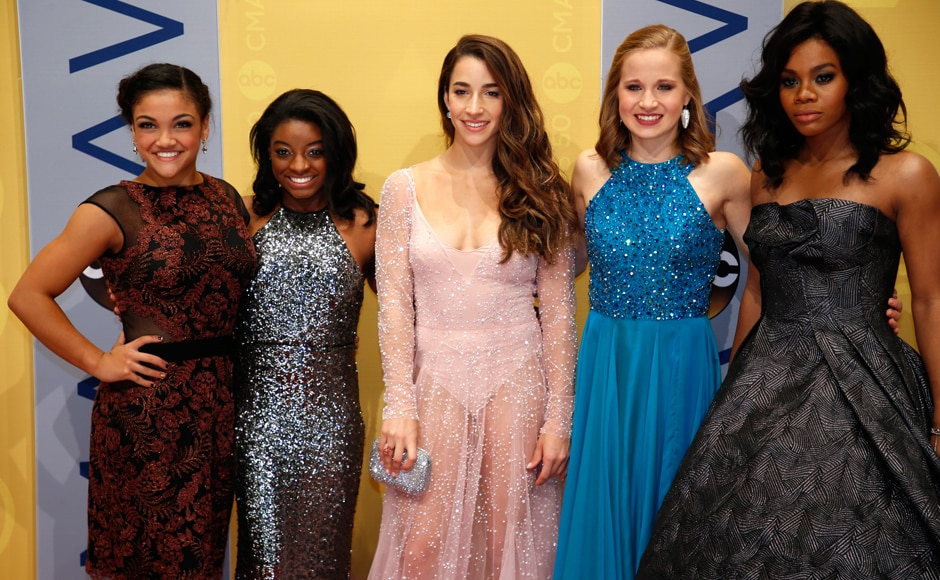 The Country Music Association Awards celebrated its 50th awards ceremony on Wednesday. Olympic gymnasts (L-R) Laurie Hernandez, Simone Biles, Aly Raisman, Madison Kocian and Gabby Douglas at the event. (Photo: Reuters)