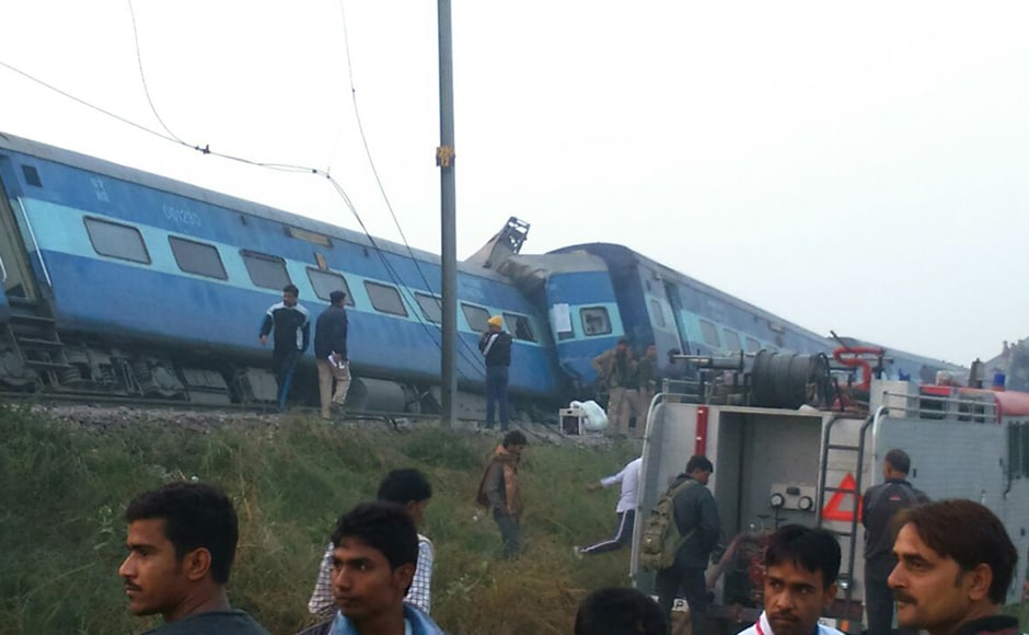 At least 96 people were killed and over 150 injured when 14 coaches of the Indore-Patna Express derailed near here before dawn on Sunday, officials said. PTI