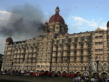 A file image of the Taj Mahal Palace Hotel during the 26/11 attacks. Courtesy: IBN