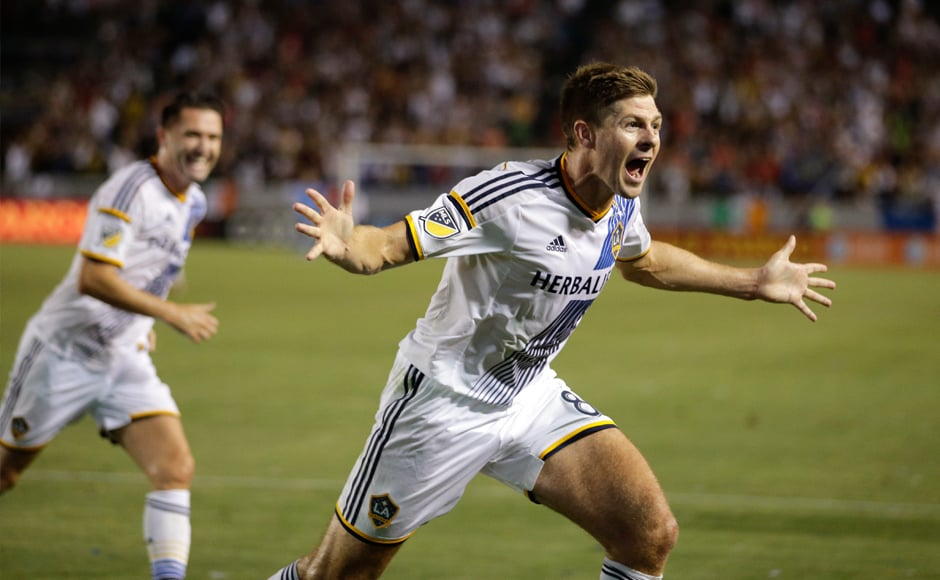 Gerrard celebrates his first goal for his new club, Los Angeles Galaxy. The MLS side offered him a new lease of life beyond the Premier League. AP