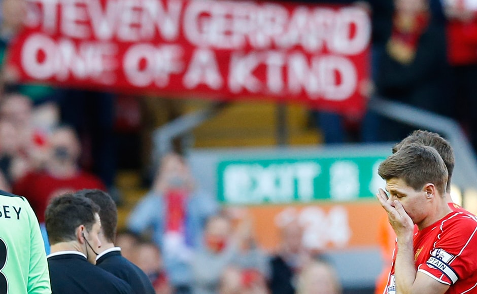 Steven Gerrard was emotional at the end of the match against Crystal Palace in 2015, his final appearance for Liverpool. AP