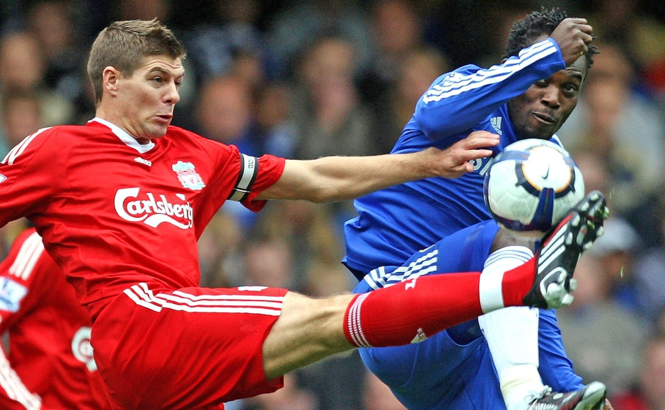 Gerrard was a hard-tackling midfielder, and here he can be seen jostling for the ball with fellow midfield dynamo Michael Essien. AP