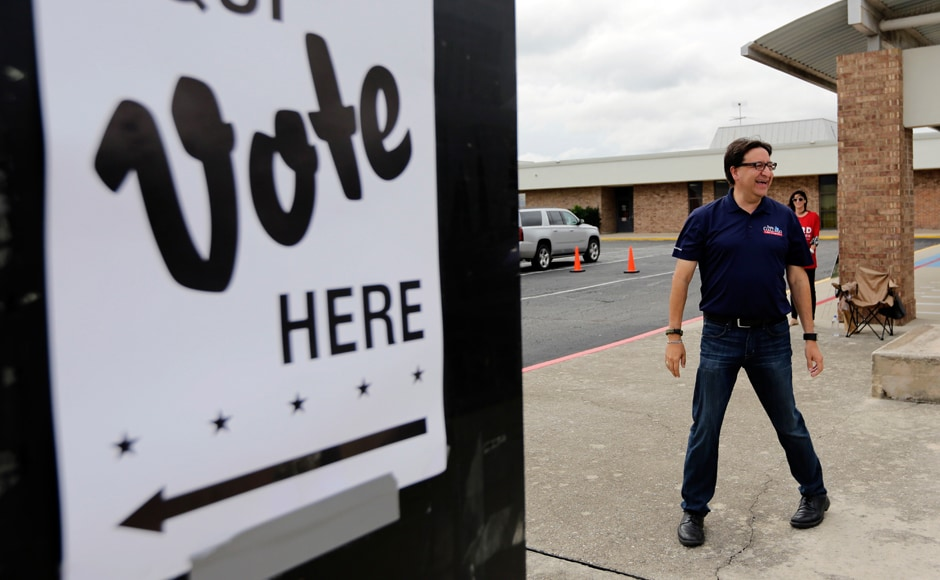 US House of Representative democratic candidate Pete Gallego makes a stop at a polling site. AP