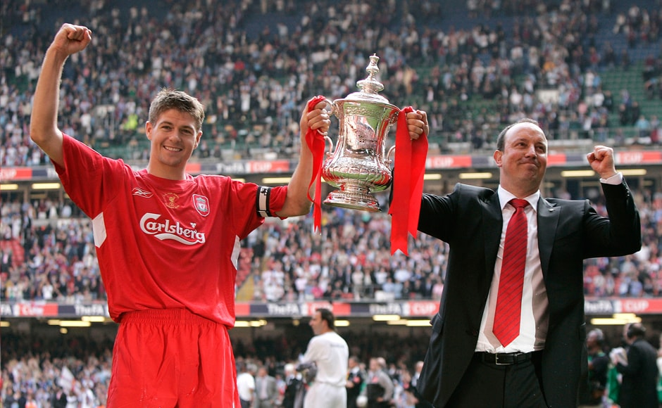 Gerrard enjoyed great success under Rafa Benitez' managerial reign. The 2006 FA Cup was one of many achievements they shared. AP