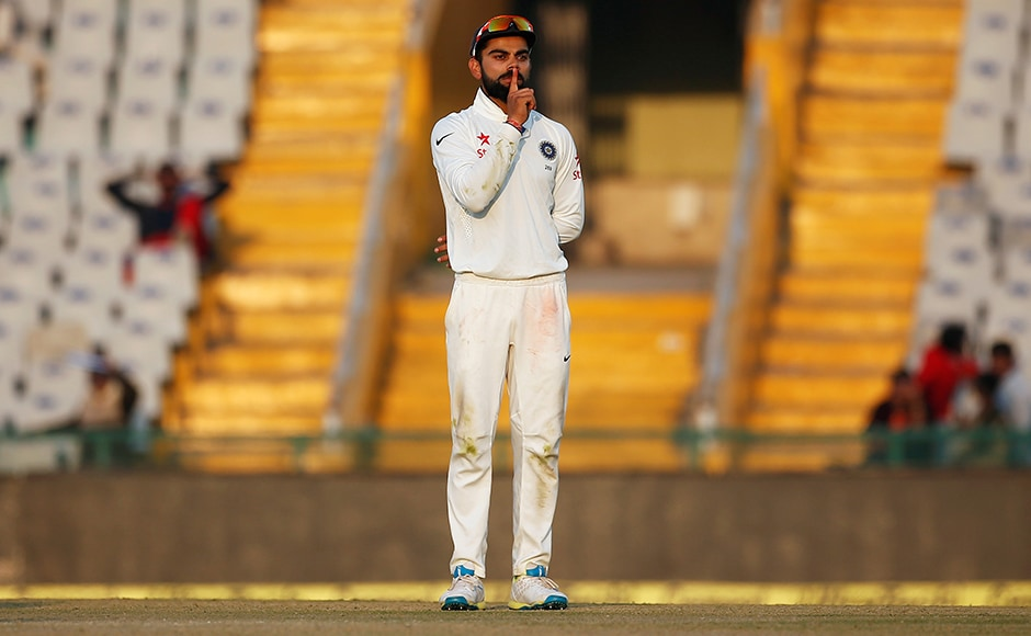 Virat Kohli celebrates the dismissal of England's Ben Stokes by making an 'I am quiet' gesture which said it all. Reuters