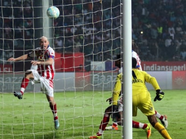 ATK's Iain Hume (L) just before scoring the equaliser against NorthEast United FC. Twitter/NEUtdFC