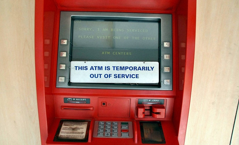 Ranchi: An out-of-service ATM in Ranchi on Saturday. PTI Photo(PTI11_12_2016_000099B)
