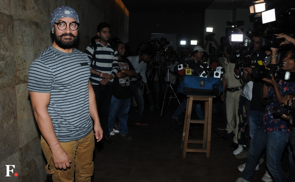 Aamir Khan at the screening of the making of his next Dangal. Courtesy: Sachin Gokhale/Firstpost