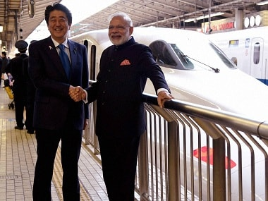 A file photo of Narendra Modi, Shinzo Abe. PTI