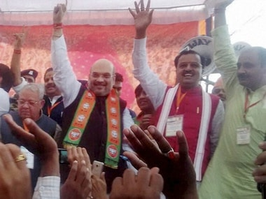 BJP National President Amit Shah with his supporters during an election rally for UP elections in Saharanpur on Saturday. PTI