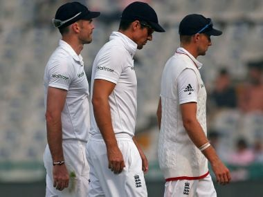 England's James Anderson, Alastair Cook, and Joe Root. Reuters