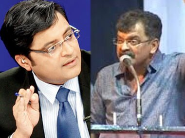 Times Now editor-in-chief Arnab Goswami (L) and NCP MLA Jitendra Ahwad.