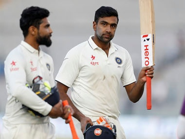 India's Ravichandran Ashwin and Ravindra Jadeja walk back to the pavilion after the second day's play. AP
