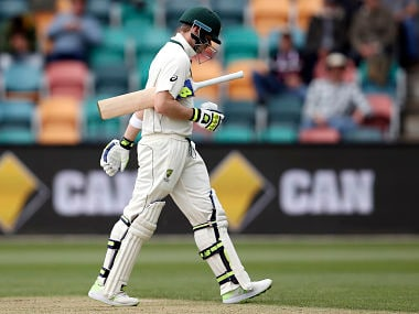 Australia's Steven Smith walks off after losing his wicket to South Africa. The hosts lost their last 8 wickets for 32 runs in 116 balls. AP