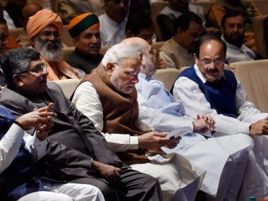 Prime Minister Narendra Modi, BJP President Amit Shah, Minister of Information & Broadcasting M Venkaiah Naidu, Minister of Law and Justice Ravi Shankar Prasad and others during the BJP Parliamentary Party meeting in New Delhi on Tuesday. PTI