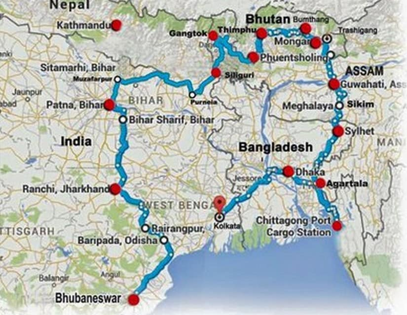 Route map of a BBIN friendship motor rally that was planned to highlight scope of cooperation under BBIN initiative. Twitter/ @silcharNOW