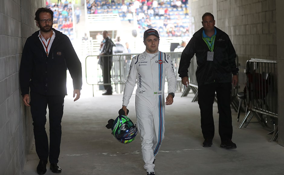 Felipe Massa's final Brazilian GP was marred by a car crash. While Massa walked away unhurt from the accident, he was accorded a guard of honour since this will be his last F1 season. AP