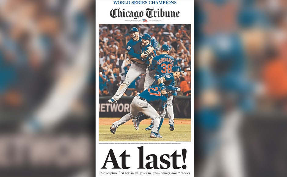 Chicago's biggest paper nailed the historic moment with a simple but memorable cover.