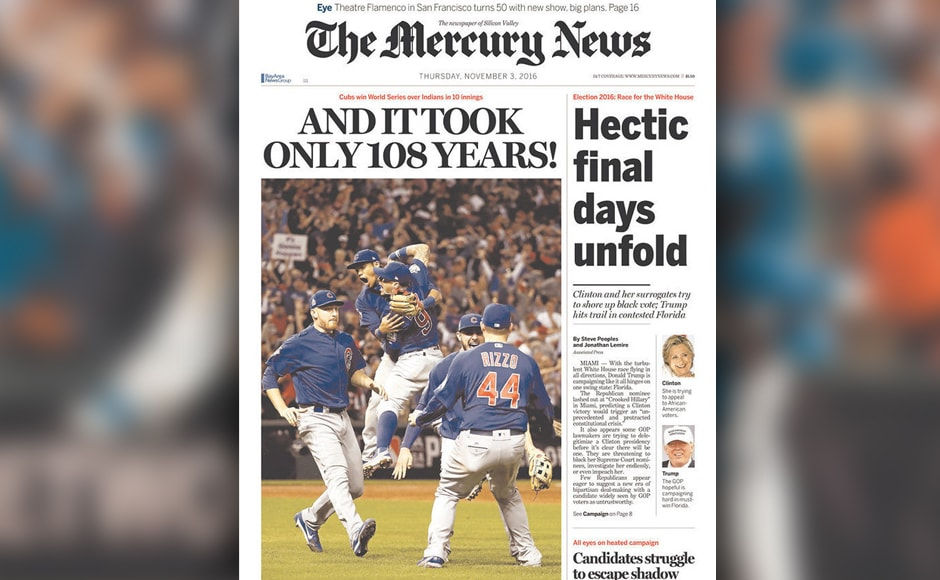 In case you didn't get the memo yet - The Mercury News reiterated how long it took for the Cubs to win again.
