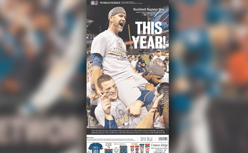 Rockford Register Star featured a jubilant Anthony Rizzo carrying retiring catcher David Ross.