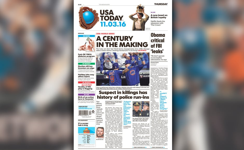 USA Today made a sly dig towards the 108-year title drought that the Chicago Cubs ended.
