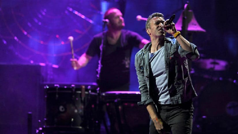 Coldplay at an earlier concert. AP photo