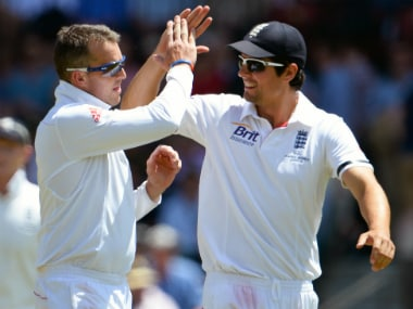 File image of Alastair Cook (R) and Graeme Swann. AFP