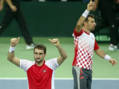Croatia Pair Marin Cilic and Ivan dodig celebrate their win against Juan Martin del Potro and Leandro Mayer. AP