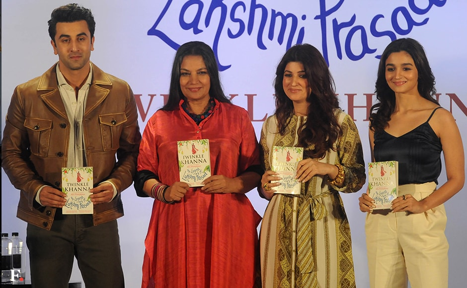Twinkle Khanna's launch for her second book was a star-studded event. Ranbir Kapoor, Shabana Azmi and Alia Bhatt pose with Khanna and hold up her book. Sachin Gokhale/Firstpost