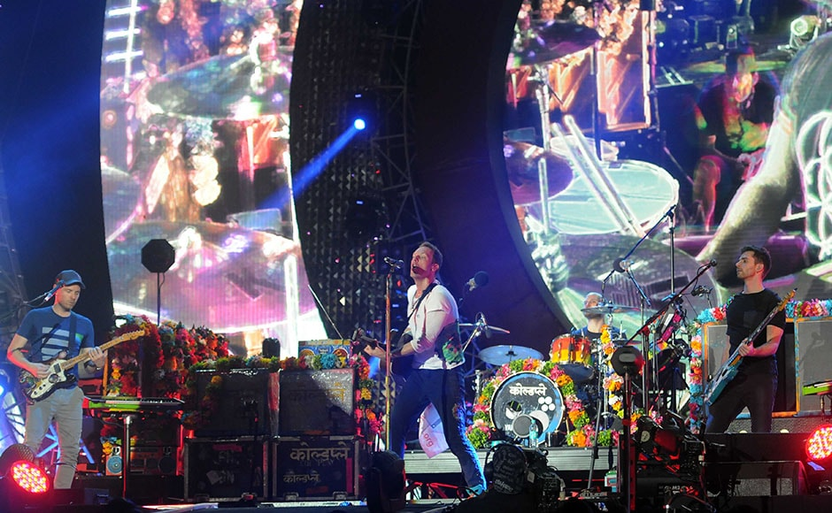 Chris Martin, lead singer of Coldplay, performs with the band during the Global Citizen Festival India. Sachin Gokhale/Firstpost