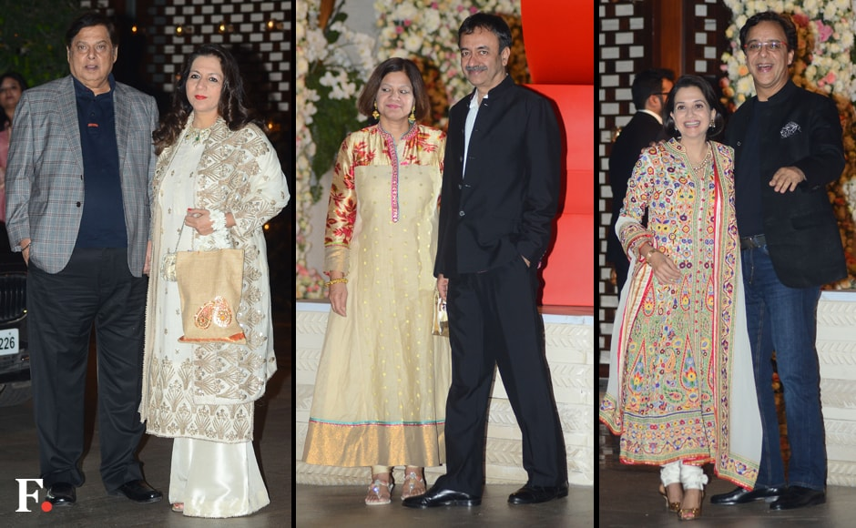 (L-R) David Dhawan and Karuna Dhawan, Rajkumar Hirani and his wife Manjeet Hirani, Anupama Chopra and Vidhu Vinod Chopra. The directors and their wives also attended the bash. The wedding will be held on on December 4 in Goa.