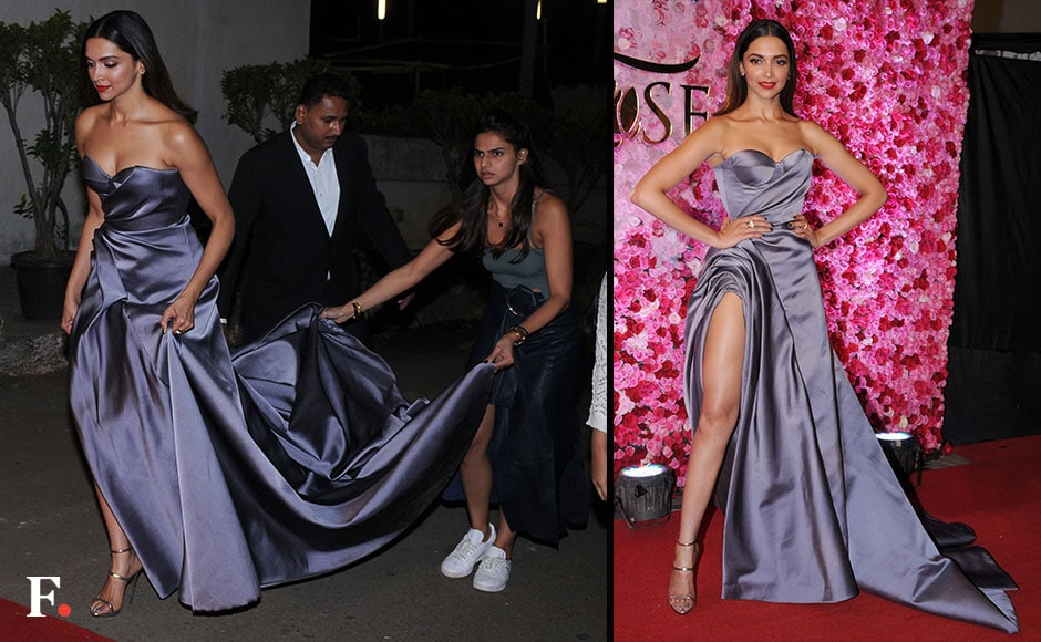 Deepika Padukone looked stunning at the Lux Golden Rose Awards in a Ralph and Russo grey thigh-high slit gown. FirstPost/ Sachin Gokhale