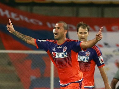 Eduardo Ferreira celebrates after scoring a goal in the 41st minute. ISL