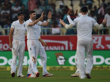 England bowler James Anderson celebrates taking a wicket. AFP