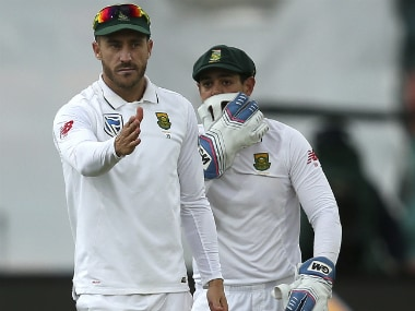 Faf du Plessis (L) during the match against Australia. AP