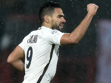 Radamel Falcao celebrates his goal against Lorient. AFP