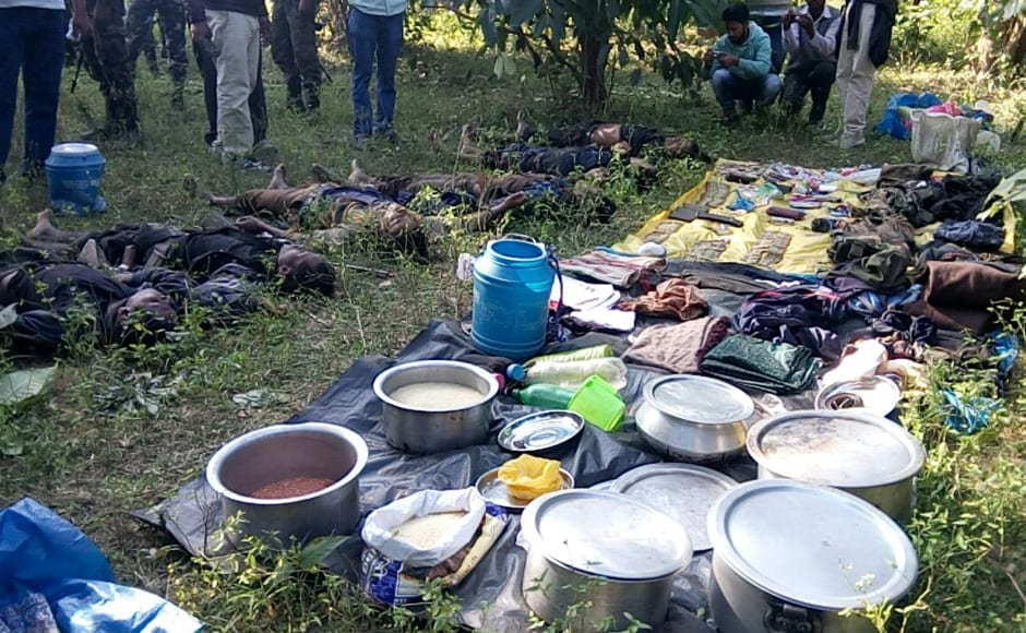The gun-battle went on for sometime, said the CRPF Inspector General (Operations) in Jharkhand Sanjay A Lathkar, after which the bodies of the Naxals, wearing black uniforms Photo: Chetna, Pradesh 18 Ranchi