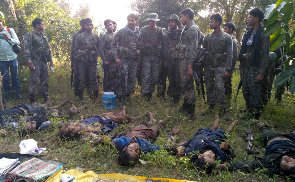 Officials said the encounter began at about 7 am in the Karamdih-Chhipadohar jungles on the banks of north Koel river where a squad of CoBRA commandos of the CRPF was out for operations. Photo: Chetna, Pradesh 18 Ranchi