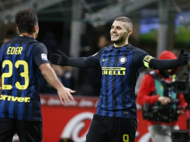 Inter Milan captain Mauro Icardi (R) celebrates his goal. AP