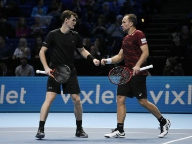 Great Britain's Jamie Murray and Brazil's Bruno Soares during their doubles match. Reuters