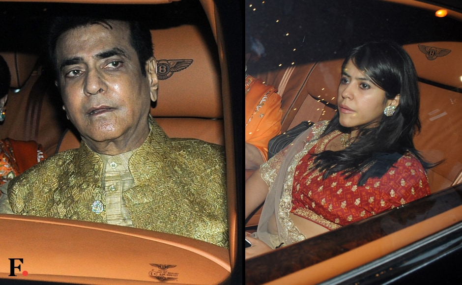 Jeetendra and daughter Ekta Kapoor are seen making their way to Jalsa. Image by Sachin Gokhale/Firstpost