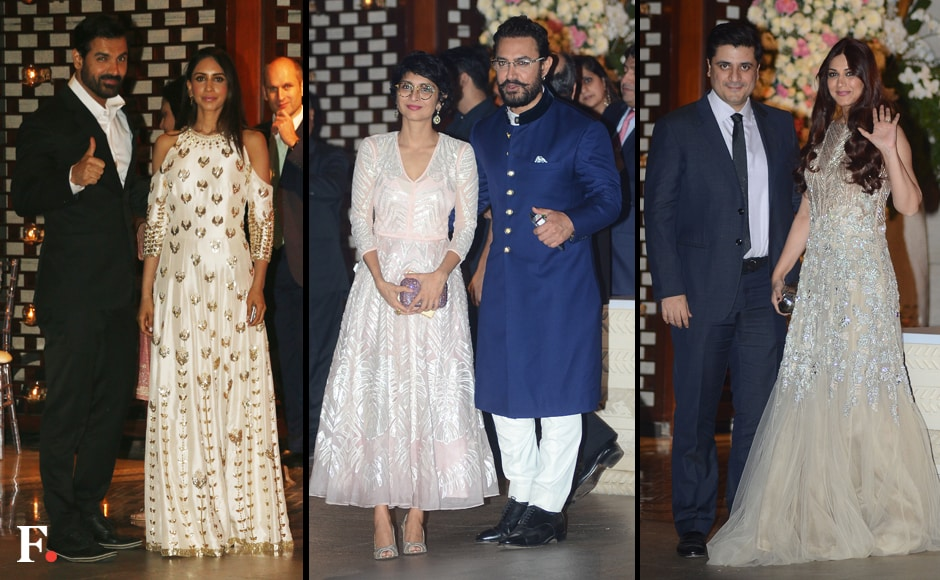 (L-R) John Abraham and his wife Priya Runchal, Kiran Rao and Aamir Khan, Goldie Behl and Sonali Bendre