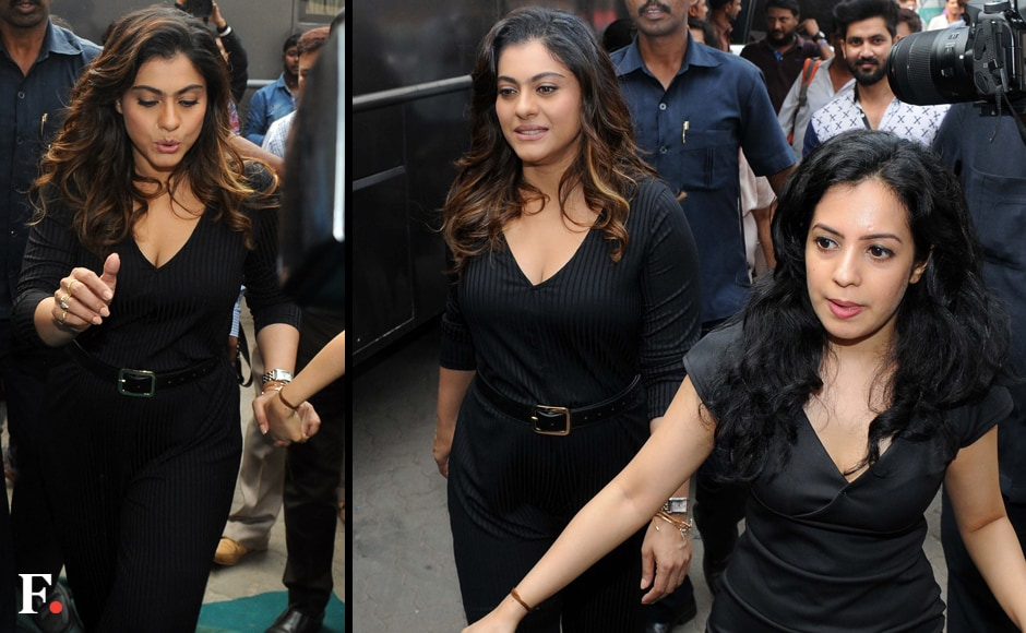 Kajol is chic in black as she makes her way to Mehboob Studio with her team, for a shoot. Image by Sachin Gokhale/Firstpost