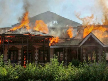 One of the oldest educational institutes in south Kashmir Anantnag district, Hanfia Model Institute, was also gutted in fire. Image courtesy: Hilal Shah
