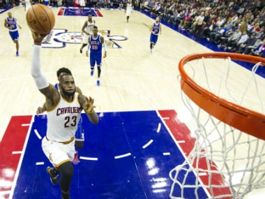 LeBron James' 25 points against the 76ers propelled him to the 10th spot in the all-timers scorers list. AP