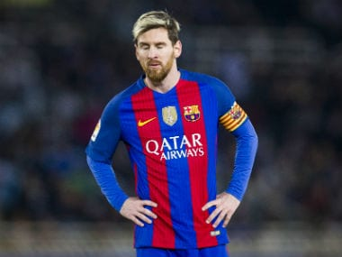 Lionel Messi reacts during FC Barcelona's clash against Real Sociedad. Getty Images