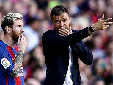 Luis Enrique was furious after the referre denied a clear goal. AP