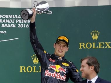 Red Bull's Max Verstappen celebrates after finishing third. Reuters