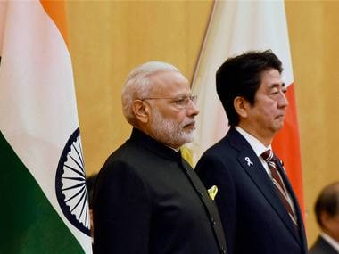 Tokyo: Prime Minister Narendra Modi with Japanese Prime Minister Shinzo Abe during his ceremonial welcome in Tokyo on Friday. PTI Photo by Shirish Shete (PTI11_11_2016_000123B)