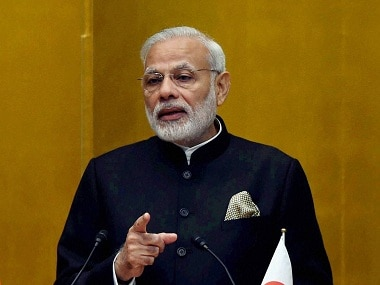 Tokyo: Prime Minister Narendra Modi addresses during the welcome bussiness lunch organised in his honour, in Tokyo on Friday. PTI Photo by Shirish Shete(PTI11_11_2016_000021B)